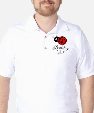 Red and Black Birthday Girl Ladybug Golf Shirt