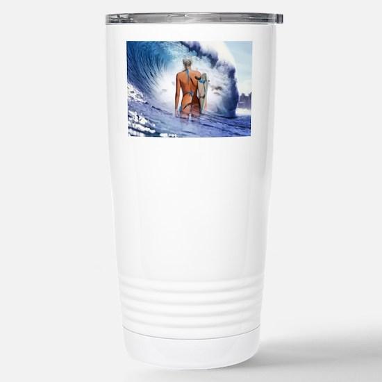 Blue Ocean Surfer Girl Stainless Steel Travel Mug