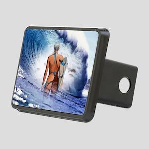 Blue Ocean Surfer Girl Rectangular Hitch Cover
