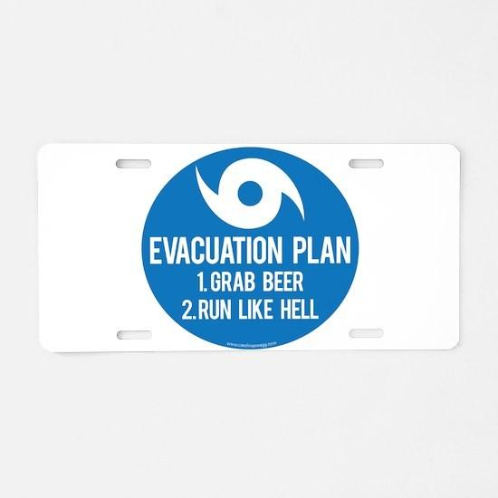 Hurricane Evacuation Plan Aluminum License Plate