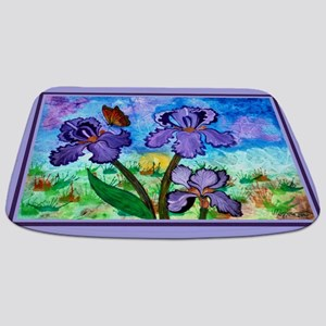 Iris At Sunrise Lavender Trim Bathmat