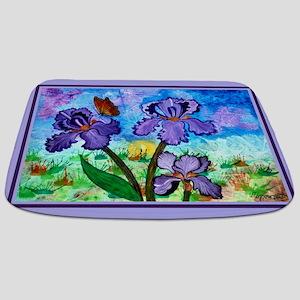 Iris At Sunrise Lavender Trim Bathmat
