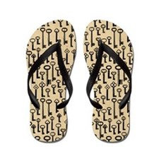 Old Keys Pattern Flip Flops