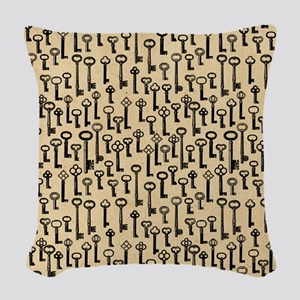 Old Keys Pattern Woven Throw Pillow