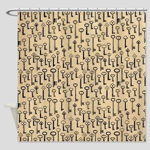Old Keys Pattern Shower Curtain