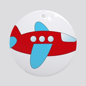 Red and Blue Airplane Ornament (Round)