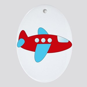 Red and Blue Airplane Ornament (Oval)