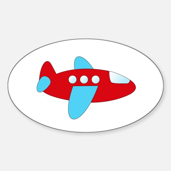 Red and Blue Airplane Decal