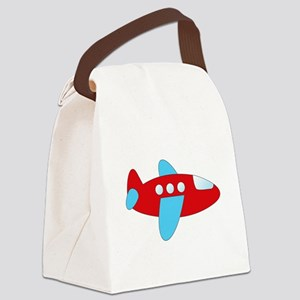 Red and Blue Airplane Canvas Lunch Bag