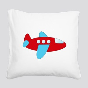 Red and Blue Airplane Square Canvas Pillow