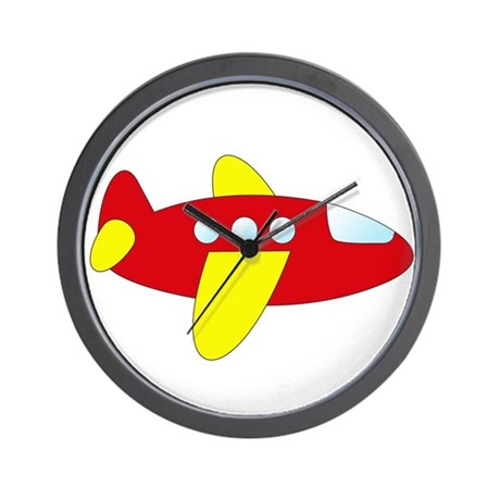 Red and Yellow Airplane Wall Clock