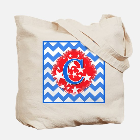 Red White Blue Monogrammed Tote Bag