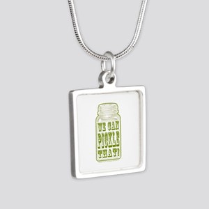 We Can Pickle That! Silver Square Necklace
