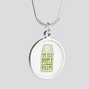 We Can Pickle That! Silver Round Necklace