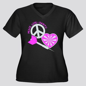 PEACE-LOVE-D Women's Plus Size V-Neck Dark T-Shirt