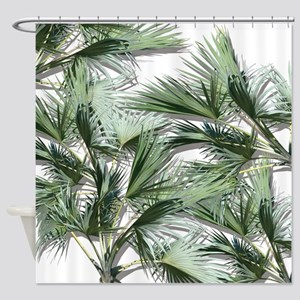 Large Tropical Leaves Shower Curtain