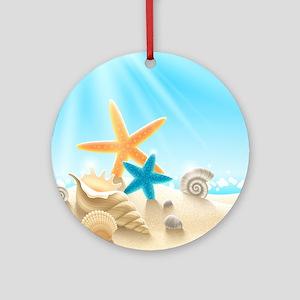 Summer Beach Ornament (Round)
