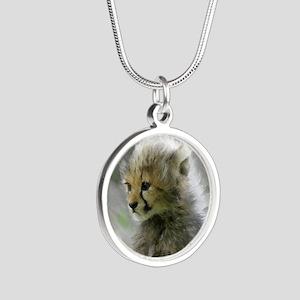 Cheetah 015 Silver Round Necklace