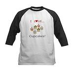 I Love Cupcakes Kids Baseball Jersey