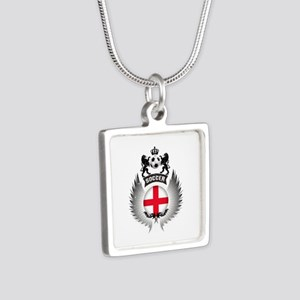 Soccer England Vintage Cre Silver Square Necklace