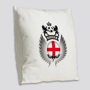 Soccer England Vintage Crest Burlap Throw Pillow