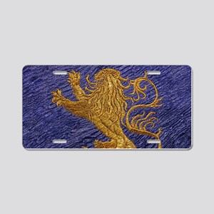 Rampant Lion - gold on blue Aluminum License Plate