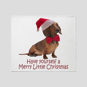 Santa Dachshund Throw Blanket