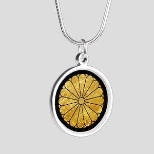 Kiku Chrysanthemum Mon gold on black Necklaces