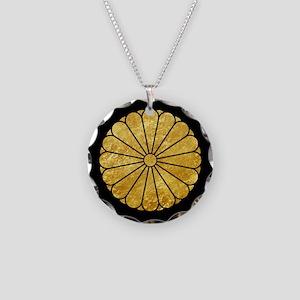 Kiku Chrysanthemum Mon gold on black Necklace