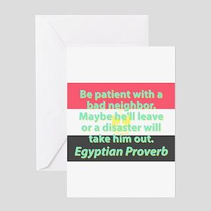Bad neighbors greeting cards cafepress be patient with a bad neighbor greeting cards m4hsunfo