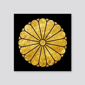 Kiku Chrysanthemum Mon gold on black Sticker