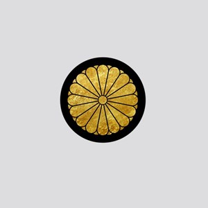 Kiku Chrysanthemum Mon gold on black Mini Button