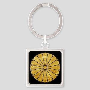 Kiku Chrysanthemum Mon gold on black Keychains
