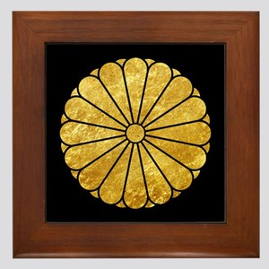 Kiku Chrysanthemum Mon gold on black Framed Tile