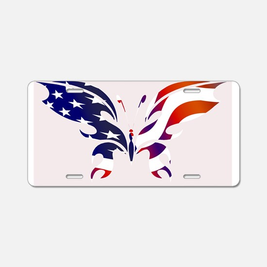 USA Patriot Butterfly Aluminum License Plate