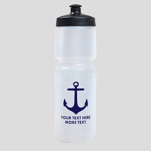Nautical boat anchor Sports Bottle