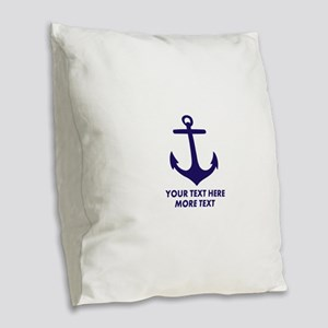 Nautical boat anchor Burlap Throw Pillow