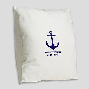 Nautical boat anchor Burlap Throw Pillow