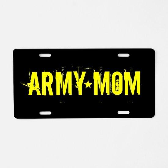 U.S. Army: Mom (Black & Gol Aluminum License Plate