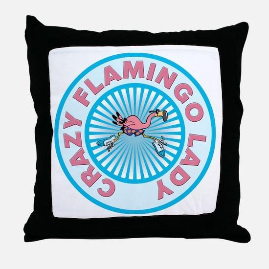 Crazy Flamingo Lady Throw Pillow