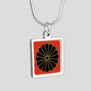 Kiku Chrysanthemum Mon black on red Necklaces