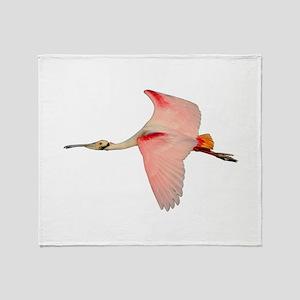 Spoonbill in Flight Throw Blanket