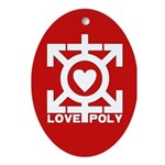 Love Poly Red Oval Ornament