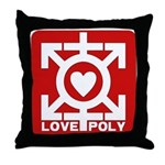 Love Poly Red Throw Pillow