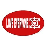 Love Poly Red Oval Sticker