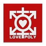 Love Poly Red Tile Coaster
