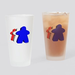 Red White and Blue Meeples Drinking Glass
