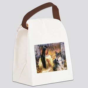 Grey Wolf Canvas Lunch Bag