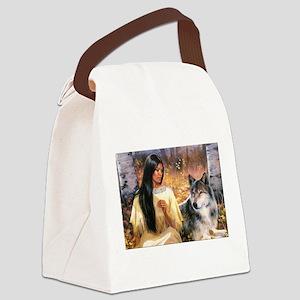 Grey Wolf Canvas Lunch Bag