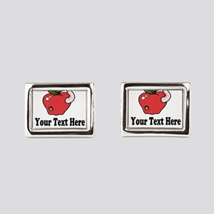 Red Apple Teacher Rectangular Cufflinks